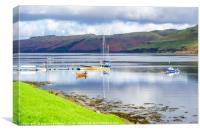 Boat reflections on Loch Harport, Canvas Print