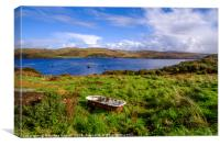 Loch Harport Skye fish farm, Canvas Print
