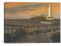 St Marys Lighthouse Whitley Bay Sketch, Canvas Print
