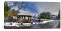 The Village of Badger in Winters Snow - Panorama, Canvas Print