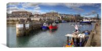 Fishing Boats at Seahouses Harbour - Panorama, Canvas Print