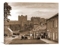 Bamburgh Village and Castle - Sepia, Canvas Print