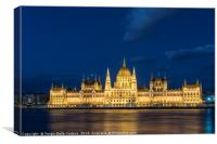 The parliament building at sunset in Budapest., Canvas Print