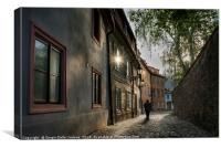 A man walking in Mala Strana  district in Prague, , Canvas Print