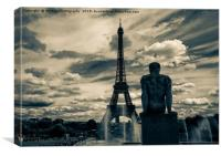 View at the Eiffel Tower from the Trocadero Garden, Canvas Print