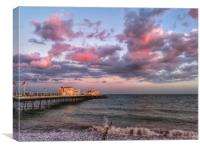 Sunset over Worthing pier, Canvas Print