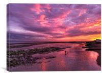 Autumn sunset over Worthing beach, Canvas Print
