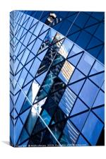 Reflections of City in the skyscraper windows, Canvas Print