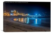 Broadstairs Harbour and Bay nightscape, Canvas Print