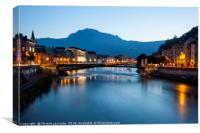 Grenoble at dusk with the river Isere, France, Canvas Print