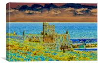 Peel Castle, Isle of Man with Solarized Filter, Canvas Print
