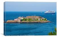 Castle Cornet and the Queen Mary 2, Canvas Print