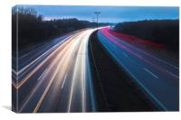 Light trails in highway of Denmark, Canvas Print