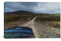 Driving pick-up truck in the Highlands of Iceland, Canvas Print