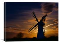 Thurne Mill by Moonlight, Canvas Print