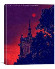 Red Moon with Spire. Vision of the red moon night, Canvas Print