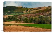 Fields and woods around Montesegale Castle, Italy, Canvas Print