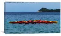 Red and yellow kayaks in Lopud Bay, Croatia, Canvas Print