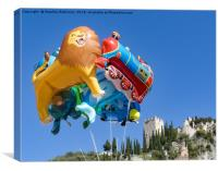 Flights of fantasy, novelty balloons and castle, Canvas Print
