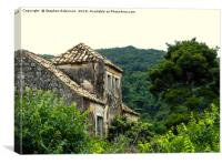 Derelict stone building with a wooded hillside, Canvas Print