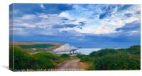 Bloody Moon at Cuckmere Haven , Canvas Print