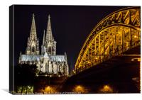 Cologne Cathedral by night, Canvas Print