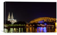 Cologne Cathedral by night, Westphalia, Gemany, Canvas Print