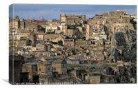 View over the gorgeous city of Matera, Italy, Canvas Print