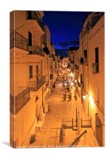 The old town of Bari, Italy, at night, Canvas Print