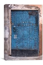 Ancient blue door in the old town of Marrakesh, Canvas Print