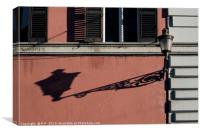 A street light in Rome throwing a long shadow, Canvas Print