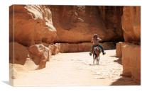 A Bedouin riding in the siq in Petra, Canvas Print