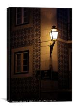 Tiled house and street light in Lisbon, Canvas Print