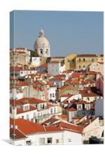 View over the old town of Lisbon, Canvas Print