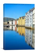 Vertical water reflection in Alesund, Canvas Print