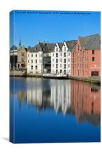 Vertical water reflection in Alesund 2, Canvas Print