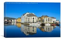 Water reflection in Alesund, Canvas Print