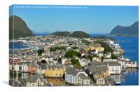 Aerial view of Art Nouveau city of Alesund, Norway, Canvas Print