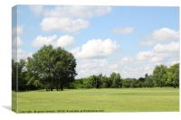 green lawn and tree summer landscape, Canvas Print
