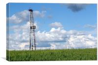 landscape with oil drilling rig blue sky and green, Canvas Print