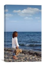 little girl with teddy bear on beach summer season, Canvas Print