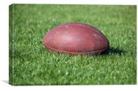 old American football ball on green grass, Canvas Print