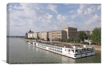 river cruiser ship on Danube river Budapest, Canvas Print