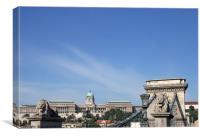 Chain bridge and royal castle Budapest, Canvas Print