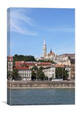 Fisherman bastion and buildings on Danube riversid, Canvas Print