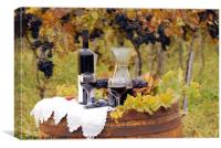 red wine and grape on wooden barrel, Canvas Print