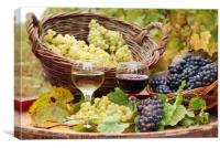 red and white wine with grape autumn season, Canvas Print
