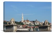 chain bridge lion statue and Fisherman bastion Bud, Canvas Print