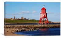 Groyne Lighthouse at South Shields, Canvas Print