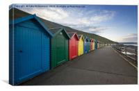 Colourful Beach Huts at Whitby, Canvas Print